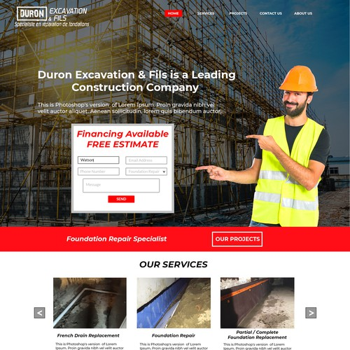 Construction Web page  design