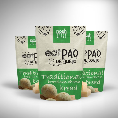 Nosh, Traditional cheese bread label packaging design.