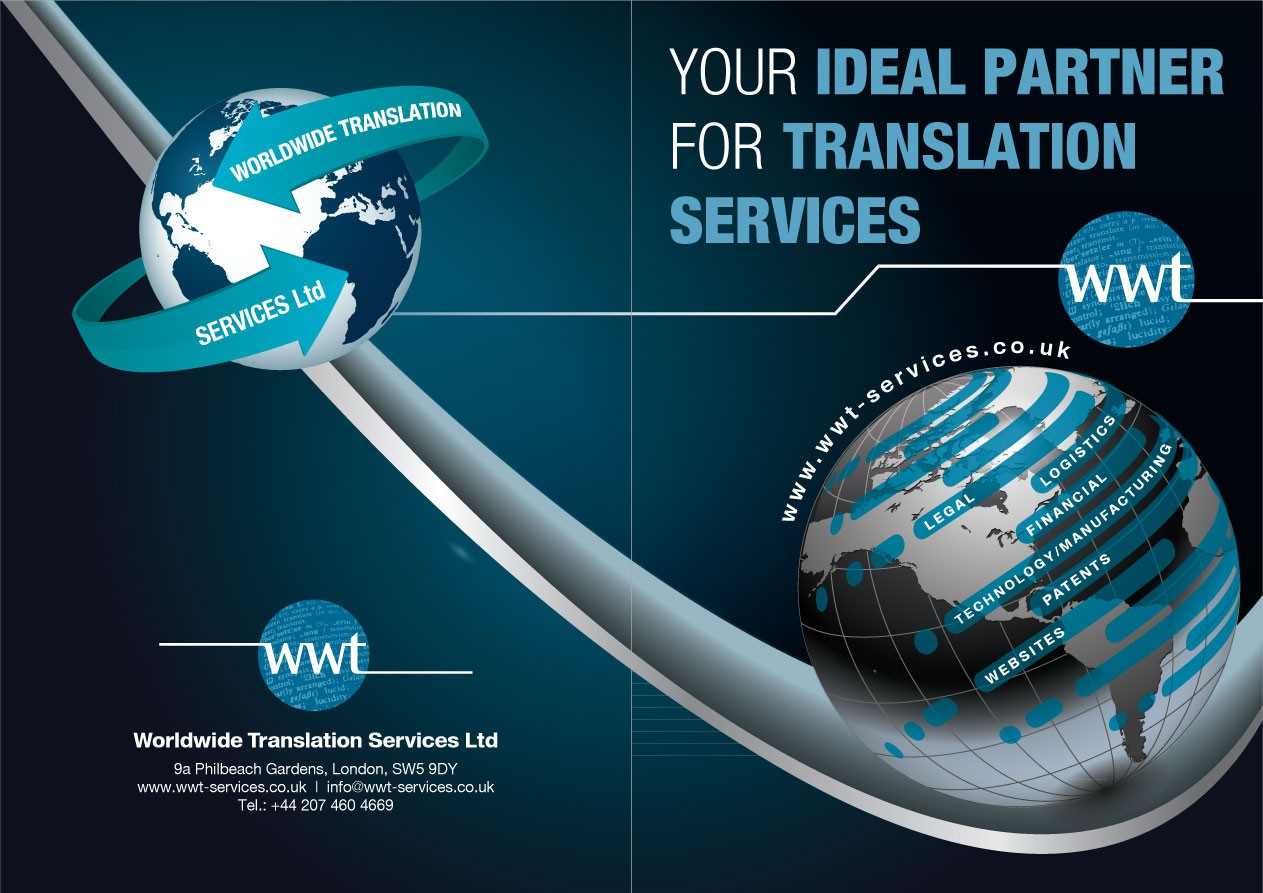 Create the next print or packaging design for Worldwide Translation Services Ltd