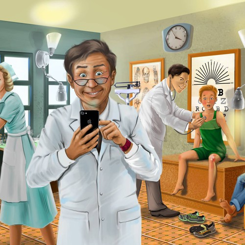 Doctor with phone