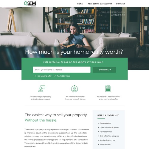 Homepage for a property agency
