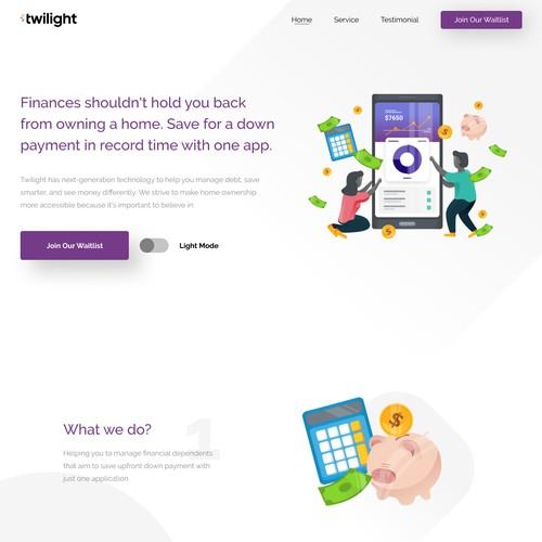 Twilight App Landing Page (Light Version)