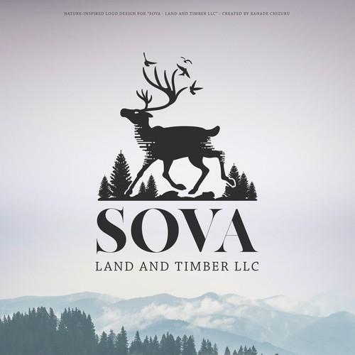Nature-inspired Logo for SOVA Land & Timber