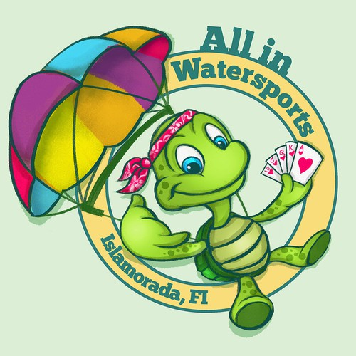 All in Watersports Mascot Character Sketch
