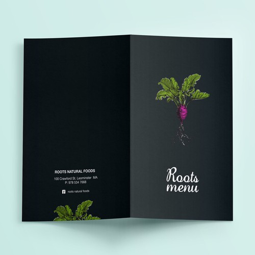 menu design for a modern natural kitchen and juice bar
