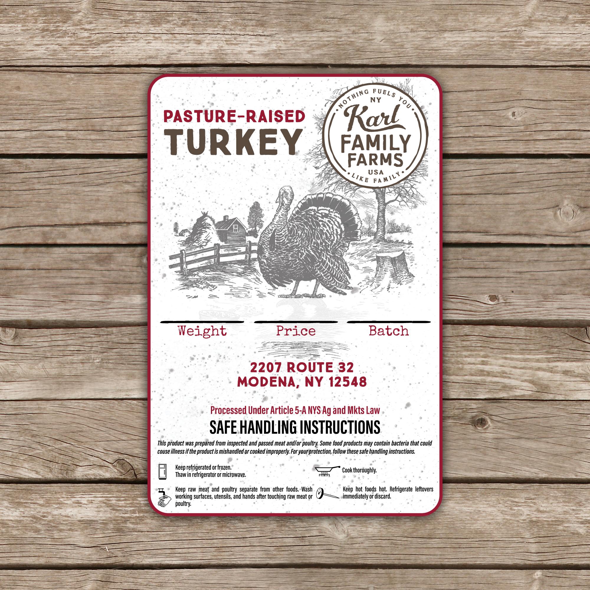 Updated label for fresh turkeys (farm)
