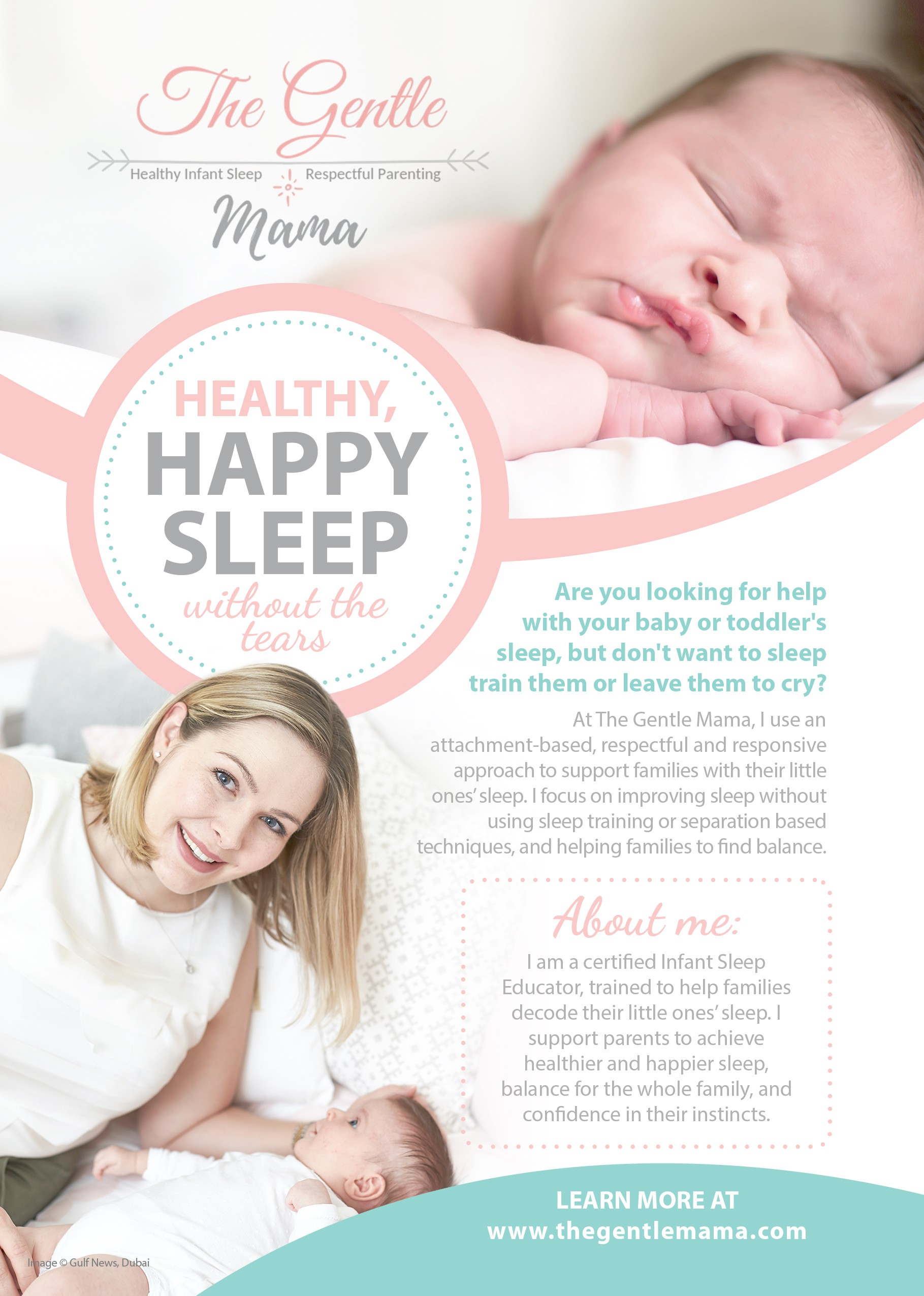 Calm and informative flyer targeting sleep deprived parents