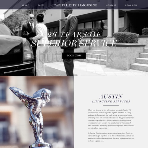 Landing page for a limo company