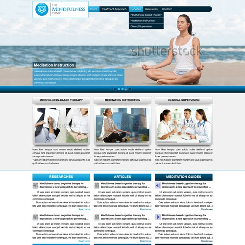 Mindfulness-based therapy clinic needs engaging and dynamic redesign.