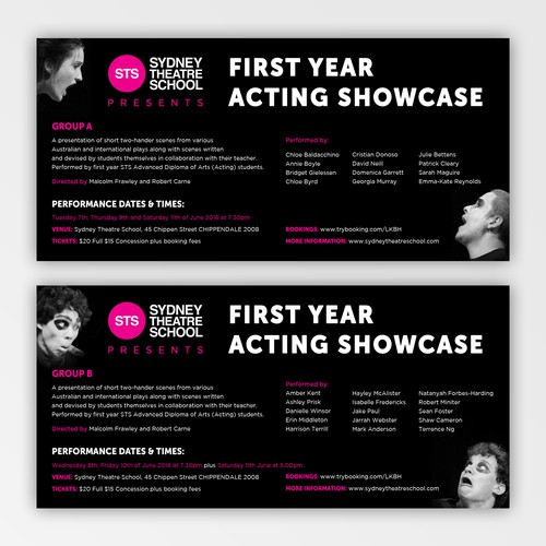 Flyer for Sydney Theatre School (2)