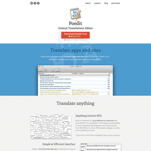 New beautiful site for a popular translation app