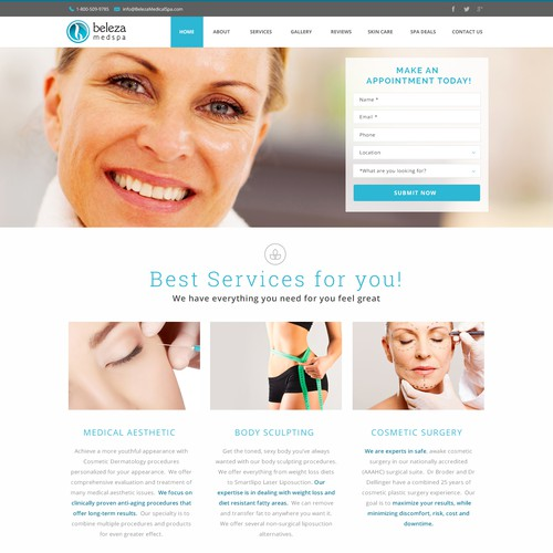 Create Professional Home Page for Medical Spa