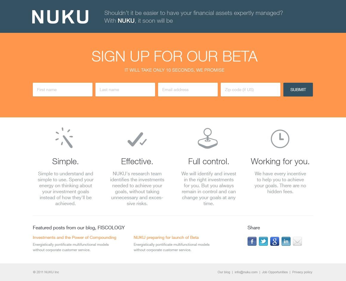 Create upcoming BETA launch website