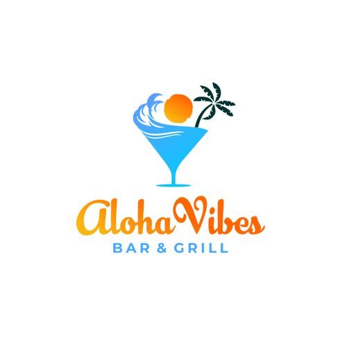 Creative & Bold logo for Aloha Vibes Bar &Grill