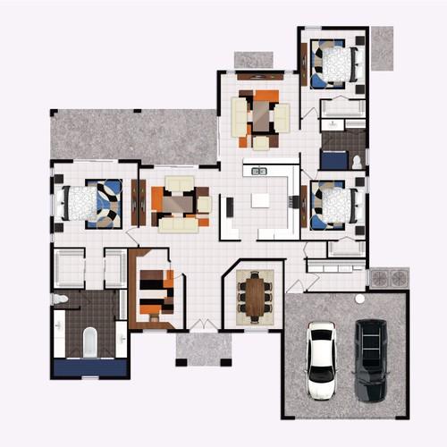 Floor plan in Semirealistic style