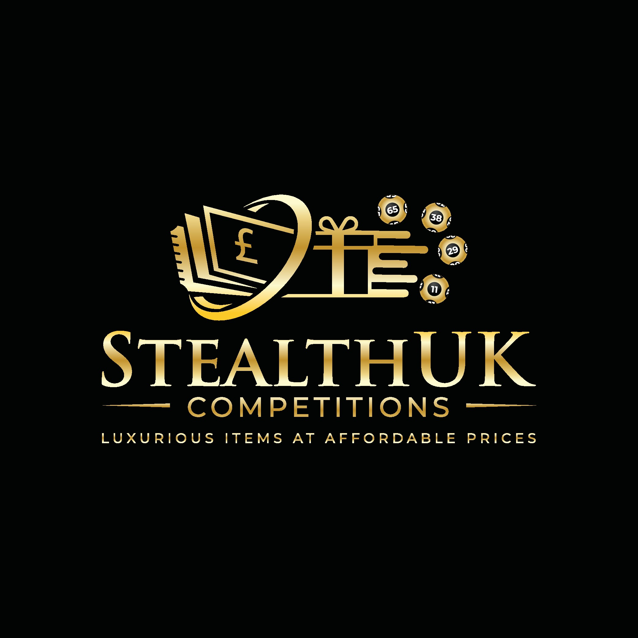 Stealthy black and gold logo needed for our luxury item lottery competition. Lottery balls in black and white