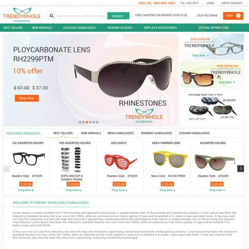 Create a very high quality design for TrendyWholesaleSunglasses.com!