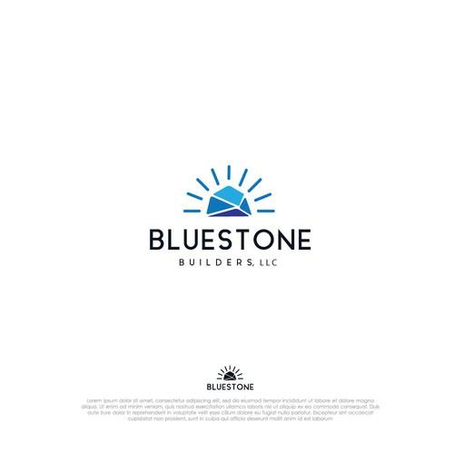 Blue stone logo concept.
