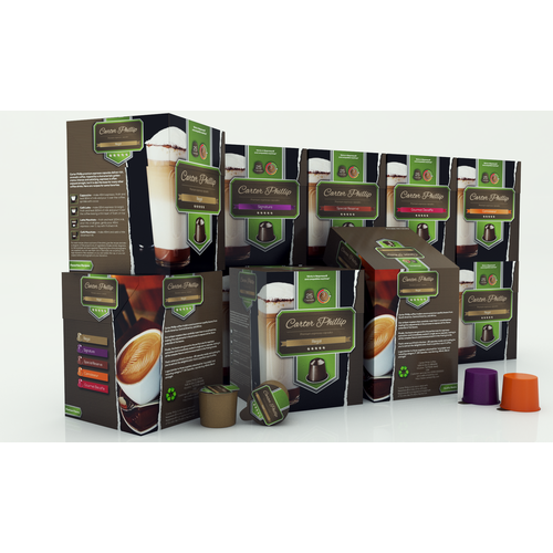 Design an espresso coffee box package. Modern, international, exclusive.