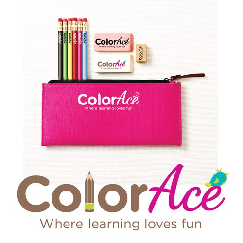 Create an elegant eye-catching logo for a kids stationery store.