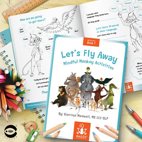 """Book cover and typesetting for """"Let's Fly Away – Mindful Monkey Activities"""" by Katrina Maxwell."""