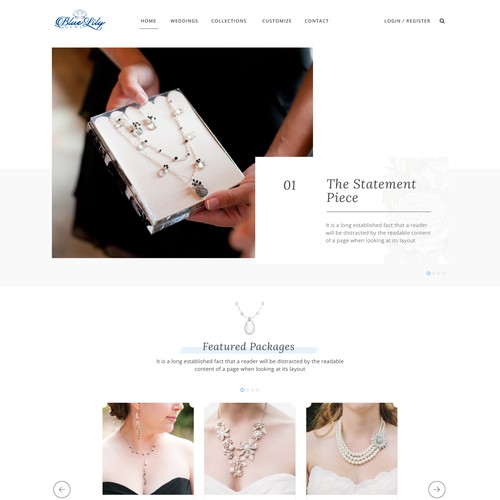 Clean web design for a wedding jewelry business