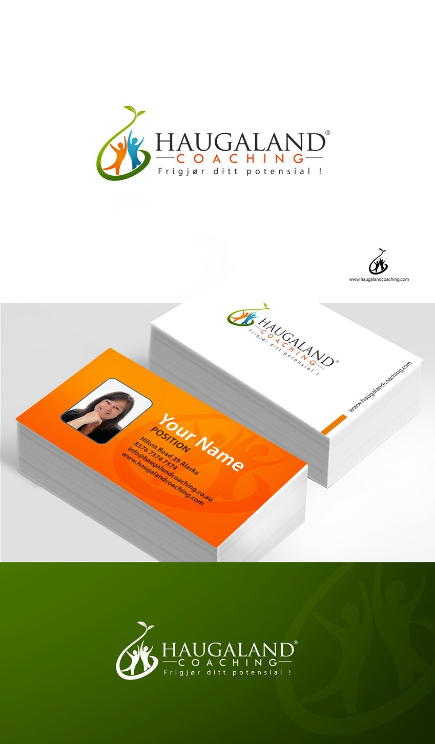 logo and business card for Haugaland Coaching