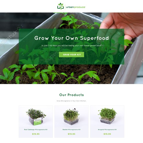 Homepage design for UrbanProduce
