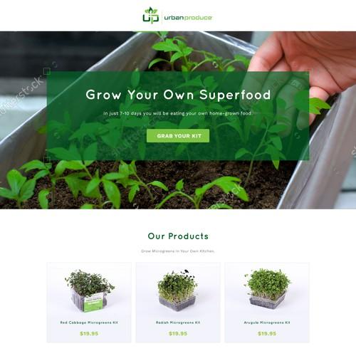 Homepage design for UrbanProduce