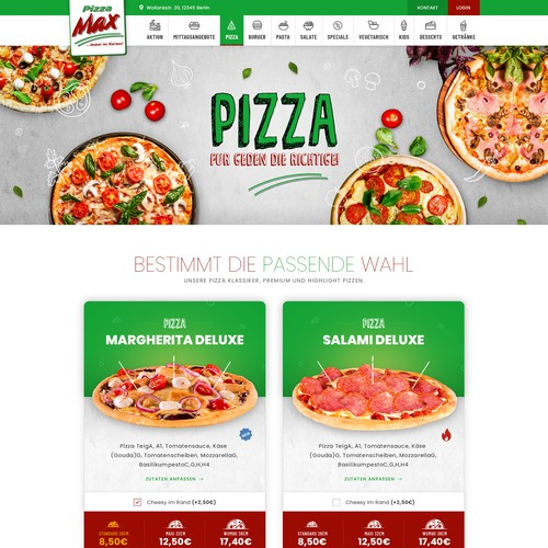 Pizza Max - Category Page