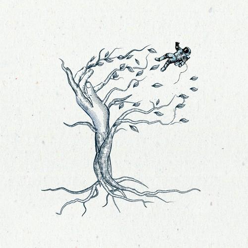 poetical surrealistic illustration