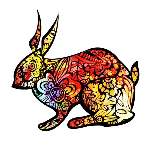 Colorful, unique animal in pop-art style to be printed on household items