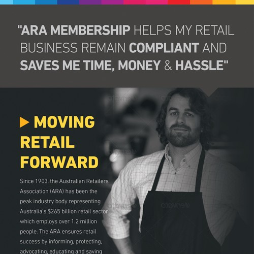 Flyer promoting membership benefits for retailers' association