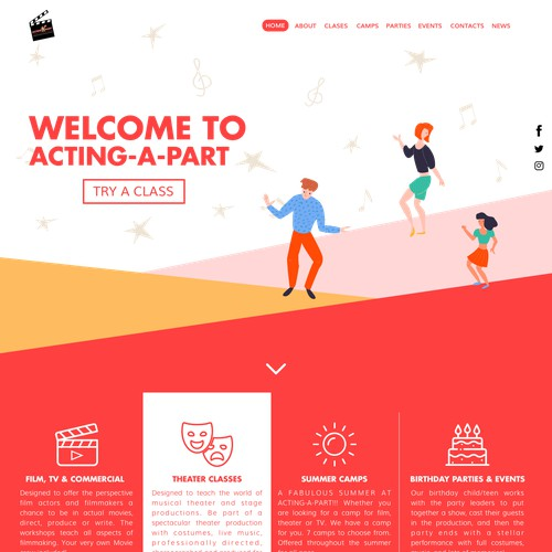 Theater school landing page