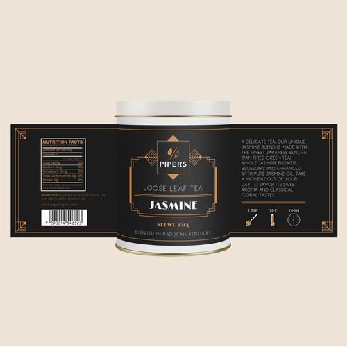 Art deco style tea company label design