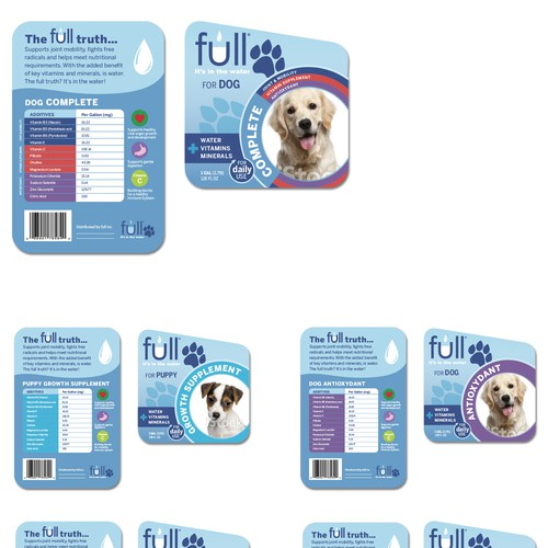 "Create a label for ""full"". A line of enhanced water products for pets!"