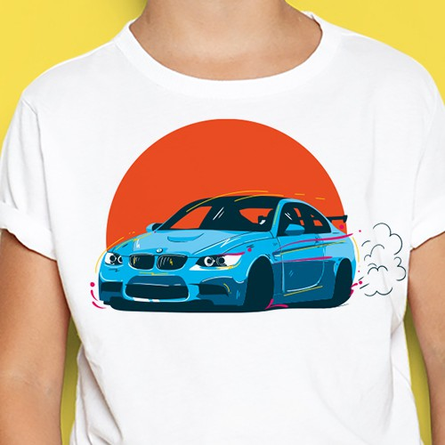 a cool BMW car tshirt design for kids
