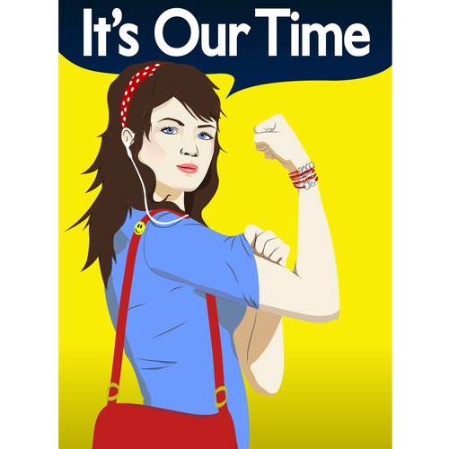 Modernized Rosie Riveter logo for an American business