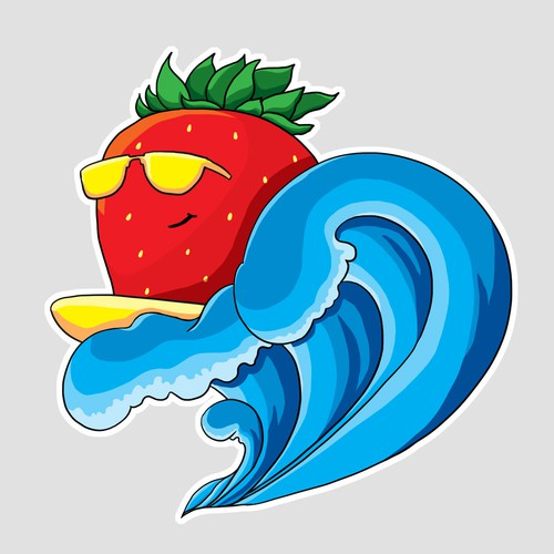 Strawberry riding the waves