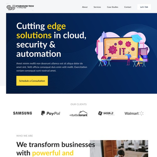 Landing page for IT consultant