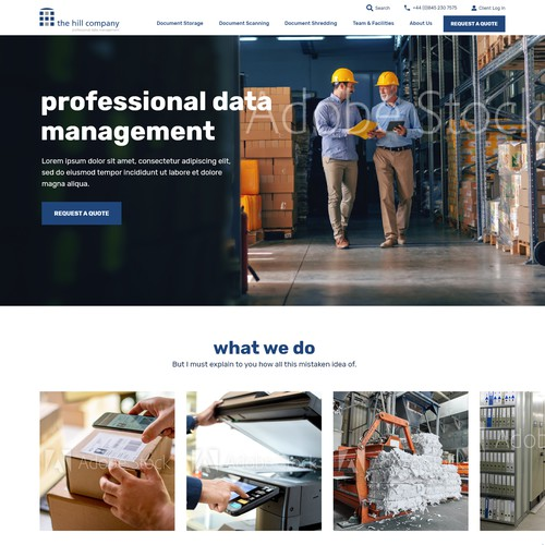 Web design concept for Hill Company Website