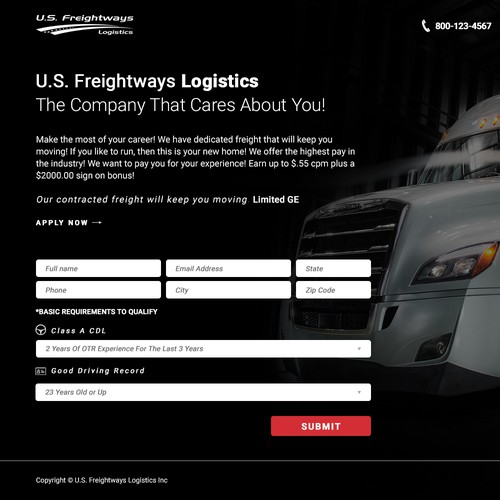 Landing Page Design for Drivers Recruiting