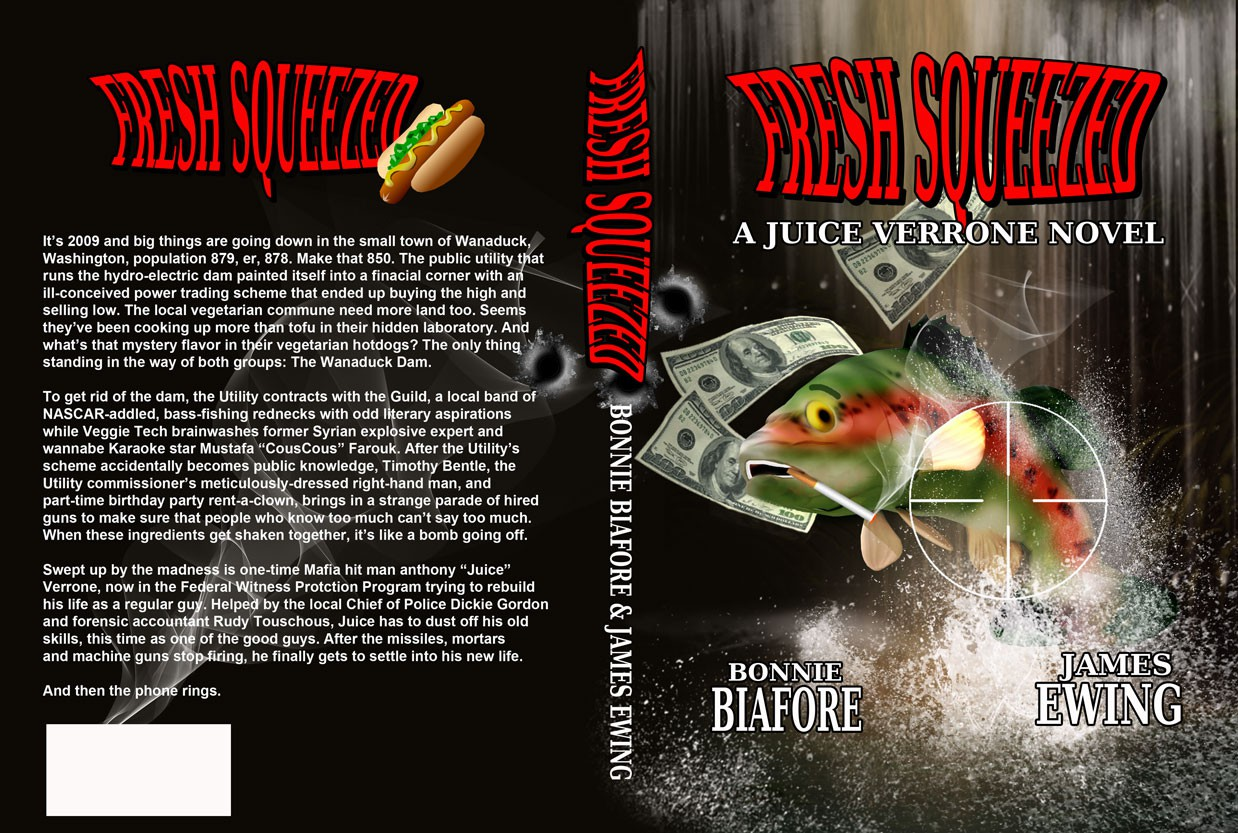 "Killer cover needed for ""Fresh Squeezed"" a Crime/Comedy novel by Bonnie Biafore and James Ewing"