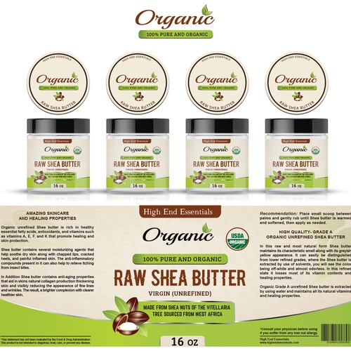 "Create an Eye Catching ""Organic Shea Butter label"" that will draw customers in"