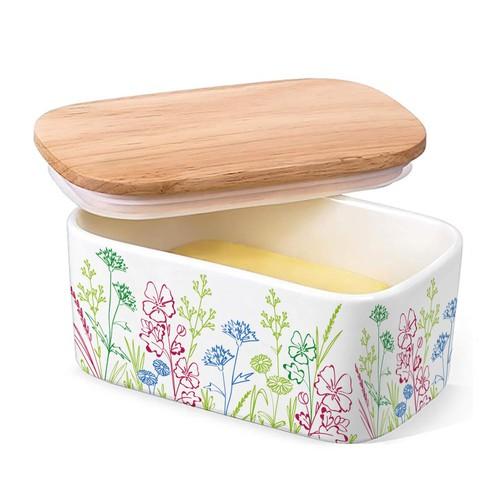 Floral design for butter tub ceramic