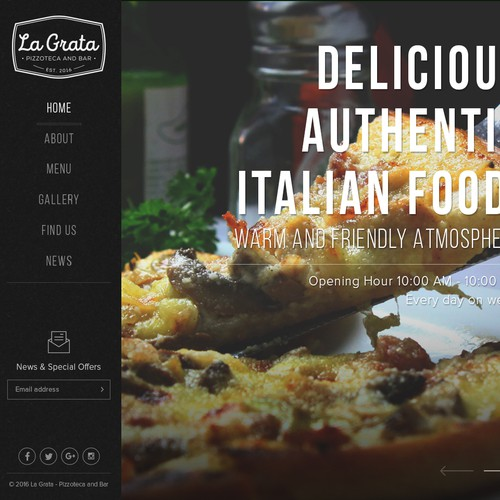Web Layout for Pizza Shop