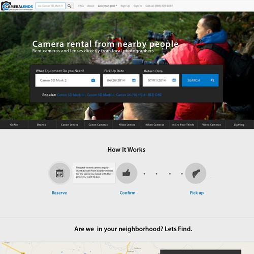 Homepage refresh for CameraLends.com