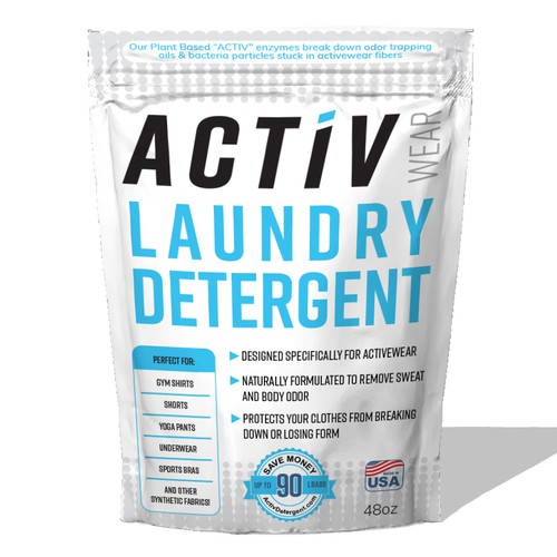 "Stand Up Pouch For ""Activewear"" Laundry Detergent"