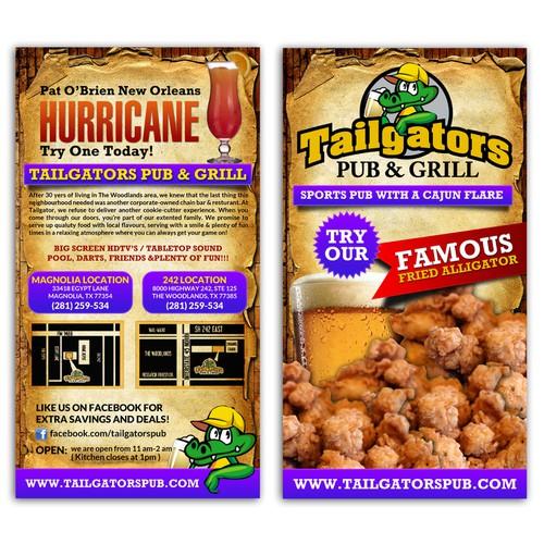 Design the BEST sports pub menu cover EVER for Tailgators Pub & Grill!!