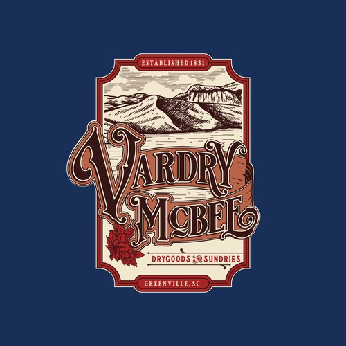 Vintage hand-drawn logo design for Vardry McBee